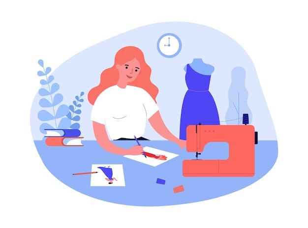 Illustrazione piana di vettore dei vestiti di cucito della ragazza del fumetto. donna che disegna schizzi del futuro modello di vestito, seduta a tavola con macchina da cucire. cucito, moda, abbigliamento, creatività, concetto di designer