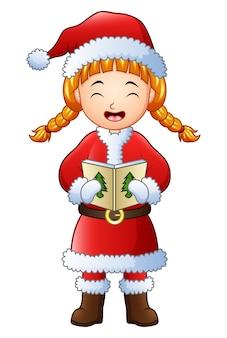 Ragazza del fumetto che canta i canti natalizi isolati