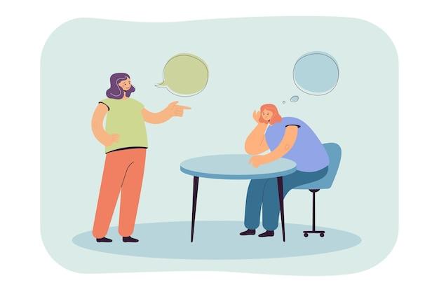 Ragazza del fumetto che pensa mentre parla con un amico o un collega