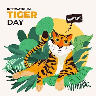 Illustrazione di giorno della tigre globale del fumetto