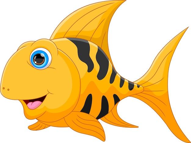 Pesce d'oro cartone animato isolato su sfondo bianco
