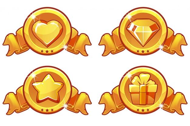 Disegno dell'icona dell'oro del fumetto per il gioco, set di icone di banner, stelle, calore, regalo e diamante di vettore dell'interfaccia utente