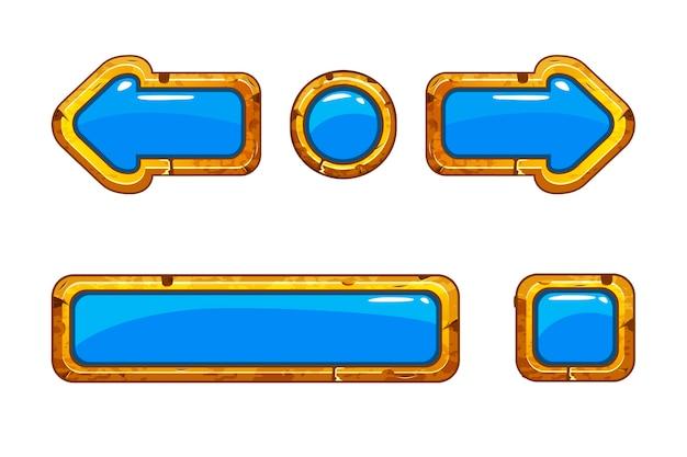 Vecchi bottoni blu dell'oro del fumetto per il gioco o il web design