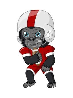 Gorilla del fumetto che gioca a rugby
