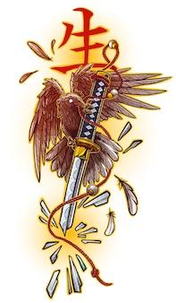 Corvo grafico del fumetto che tiene la spada katana rotta broken