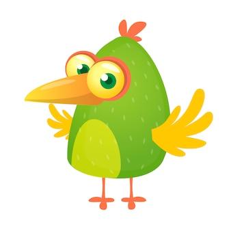 Cartone animato uccello verde