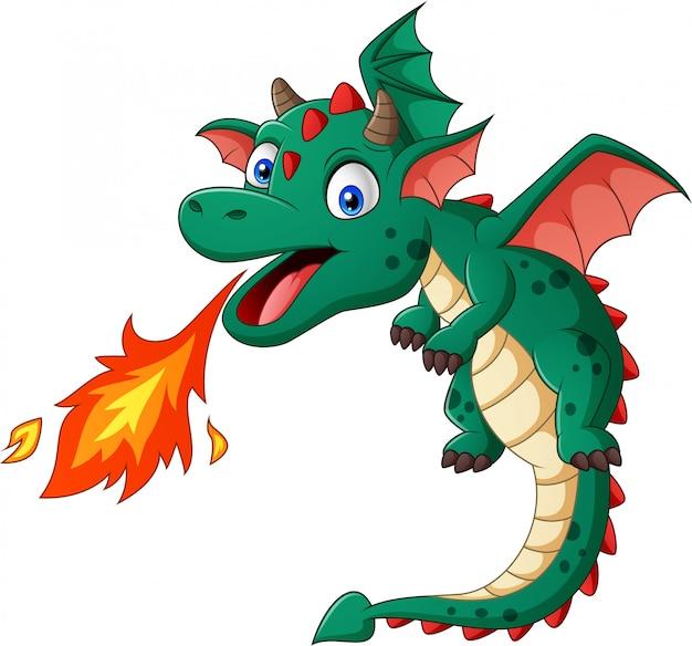 Drago verde del fumetto che posa con il fuoco. illustrazione