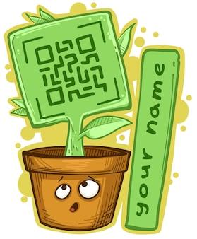 Pianta verde cartone animato in vaso con codice qr