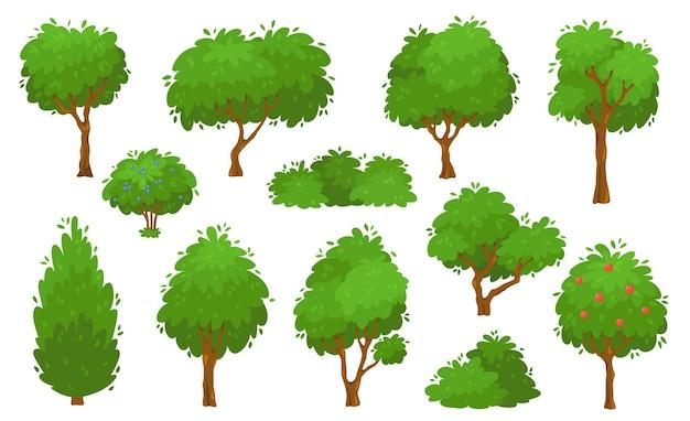 Cartone animato alberi verdi cespugli e siepi foresta o set di vettori di alberi da giardino