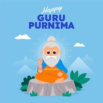 Cartoon guru purnima illustrazione Vettore Premium