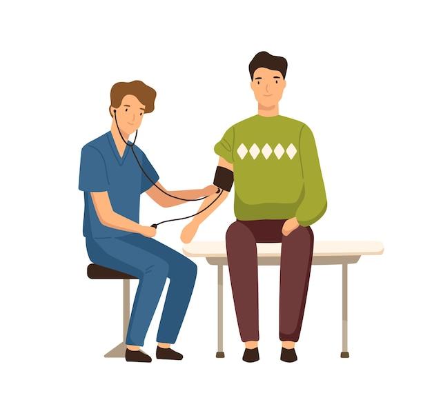 Il ragazzo del fumetto ha visitato il medico per misurare l'illustrazione piana di vettore di pressione sanguigna. medico maschio amichevole durante la mano di compressione dell'aiuto che controlla lo stato di salute isolato su bianco. sanità e medicina.
