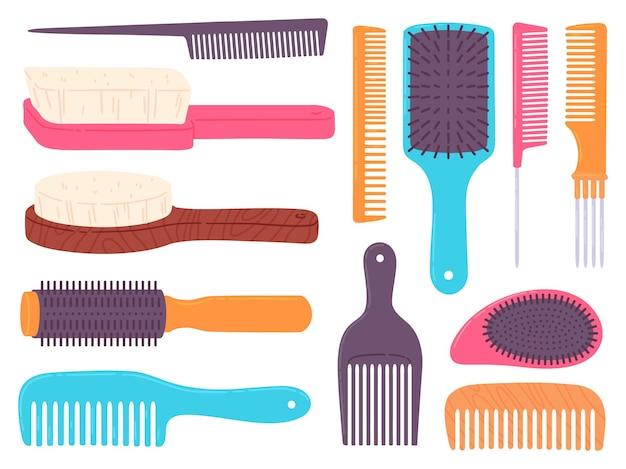 Spazzole per capelli del fumetto e pettine professionale per lo styling dei capelli. pennello per arricciatura e stile. insieme di vettore di strumenti di parrucchiere, stilista e salone di bellezza