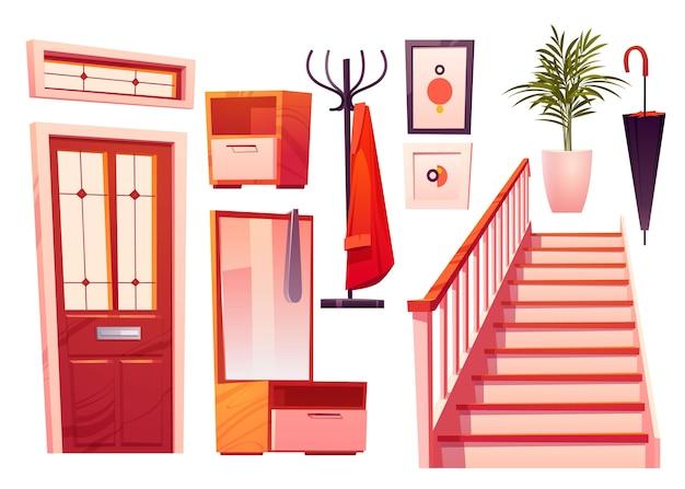Illustrazione della collezione di mobili per la sala dei cartoni animati