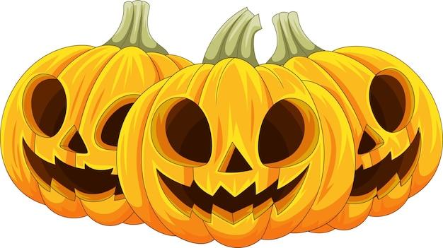 Zucca di halloween del fumetto isolata su fondo bianco