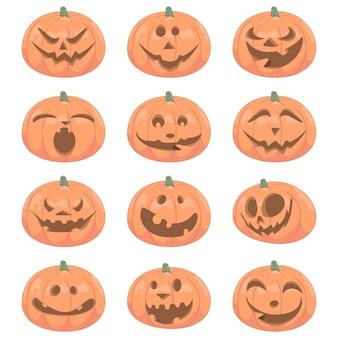 Zucca di halloween del fumetto con diverse espressioni del viso