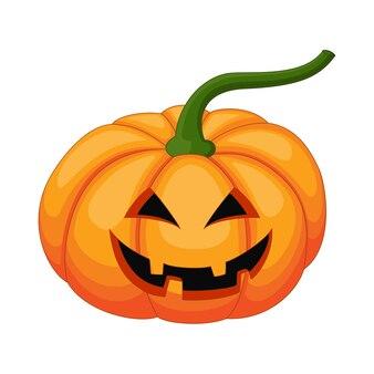 Zucca di halloween del fumetto con la faccia felice isolata su bianco