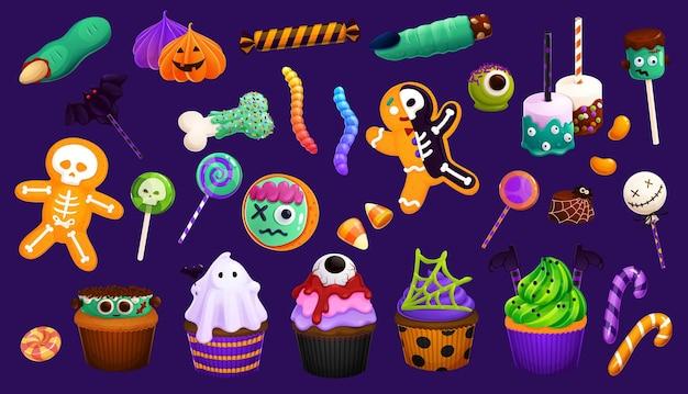 Dolci di halloween del fumetto, cupcakes e lecca-lecca, semi di caramelle e biscotti con le dita di strega o marshmallow, vettore. dolcetto o scherzetto di halloween caramelle con teschio di scheletro o torte con bulbo oculare e biscotti alla zucca