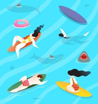 Gente della folla disegnata a mano del fumetto sull'acqua con tavole da surf, nuotare e rilassarsi, godersi l'acqua estiva e gli squali.