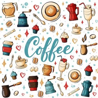 Doodles disegnati a mano del fumetto sul tema del caffè, modello senza cuciture di tema della caffetteria.