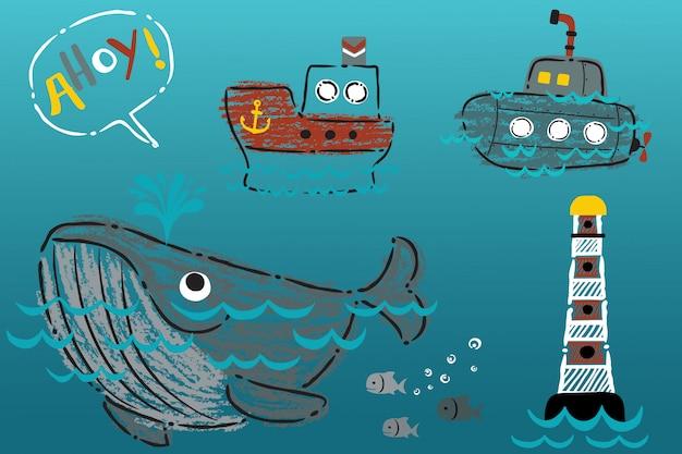Cartone animato di trasporto marittimo disegnato a mano con grande balena