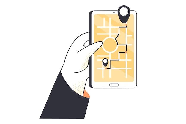 Cartoon mano che tiene smartphone con navigatore gps sullo schermo