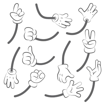 Mani del fumetto. kit per la creazione dell'animazione delle mani per la raccolta delle parti del corpo. mano di gesto umano, indice e palmo nell'illustrazione del guanto