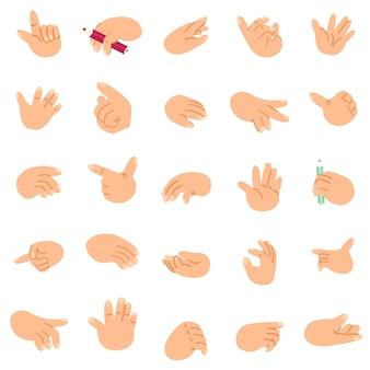 Le mani del fumetto hanno messo le icone e i simboli gesti differenti illustrazione di clip art di vettore isolato