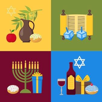 Cartone animato hanukkah banner card set festa ebraica cultura tradizionale simbolo stile design piatto. illustrazione vettoriale