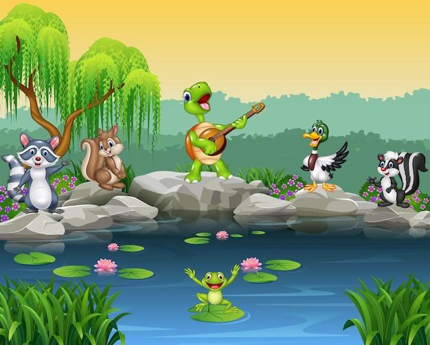 Animali felici del fumetto che cantano insieme