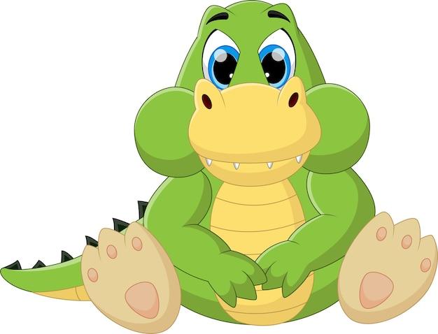 Cartone animato felice bambino coccodrillo seduto