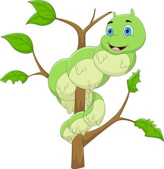 Cartone animato bruco felice sull'albero