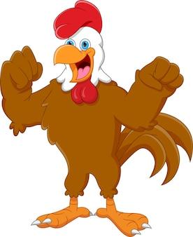 Pollo felice del fumetto isolato su sfondo bianco