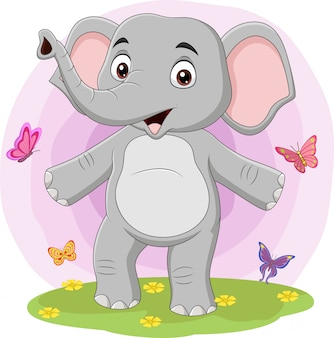 Elefante felice del fumetto con le farfalle nell'erba