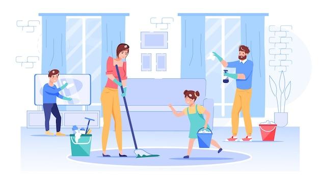 Personaggi della famiglia felice dei cartoni animati che puliscono casa.