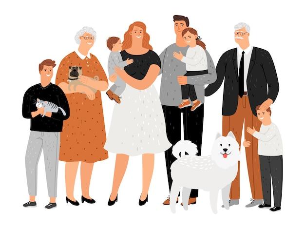 Ritratto di famiglia felice dei cartoni animati