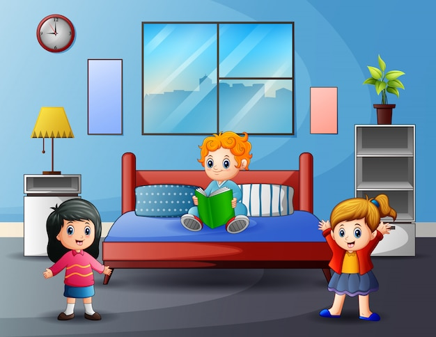 Ragazze felici del fumetto che giocano nella camera da letto
