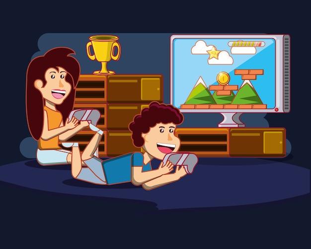 Bambini felici del fumetto che giocano i video giochi sopra fondo blu