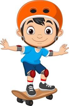 Cartoon felice ragazzino skateboarding