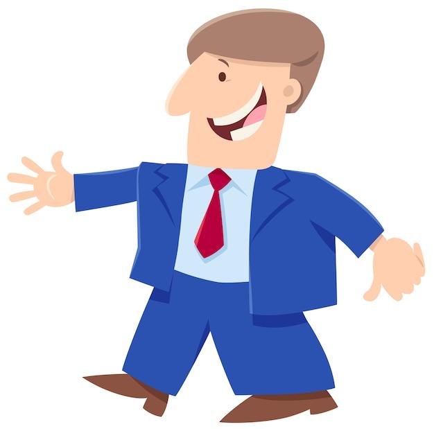 Cartone animato uomo felice o uomo d'affari personaggio