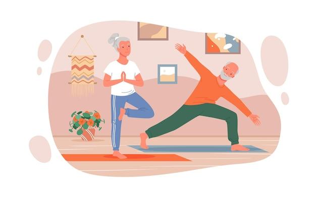 Cartoon felice uomo donna personaggi senior allenamento a casa