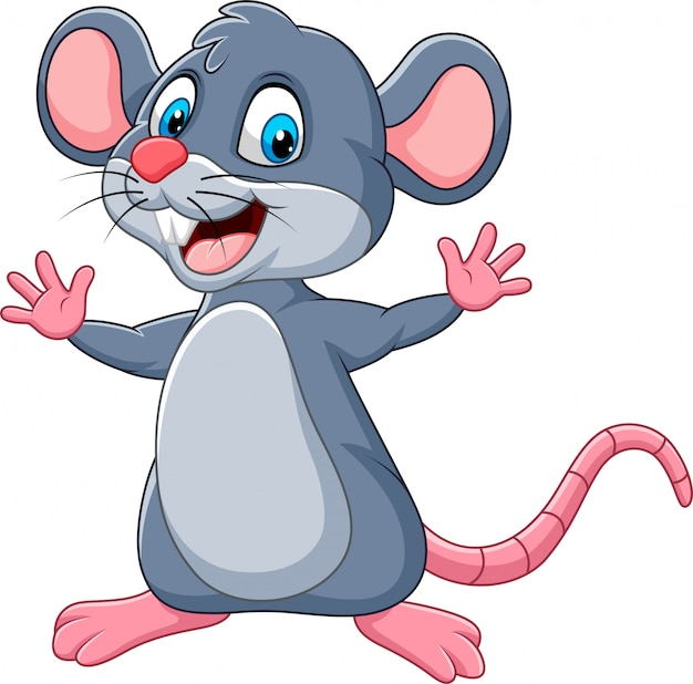 Cartoon felice mouse agitando