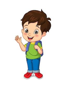 Cartone animato felice scolaro agitando la mano