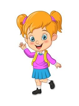 Cartoon felice scuola ragazza agitando la mano