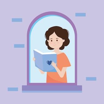 Donna felice del fumetto che legge un libro nella finestra