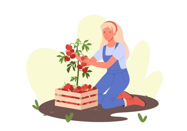 Donna felice del fumetto che lavora nella serra del giardino di eco