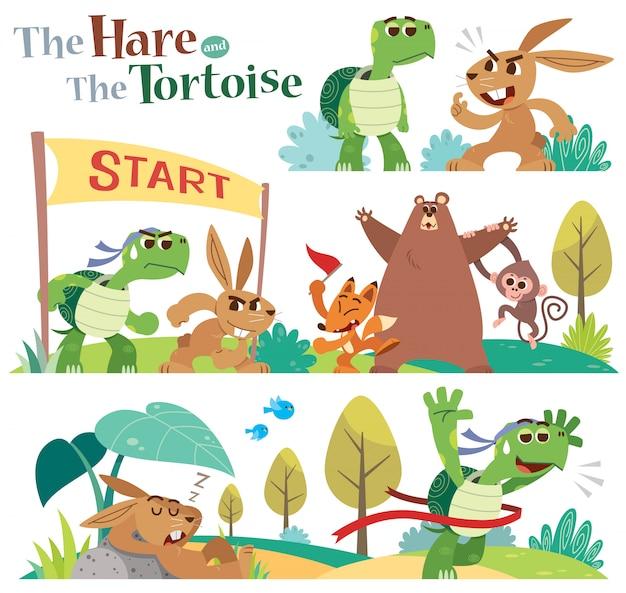 Cartoon la lepre e il set di caratteri tartaruga.