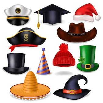 Berretto comico di vettore del cappello del fumetto per celebrare la festa di compleanno o chrisrmas con copricapo o copricapo cappello da babbo natale o illustrazione pirata set di cowboy copricapo divertente