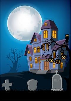 Cartoon haunted house con sfondo di halloween
