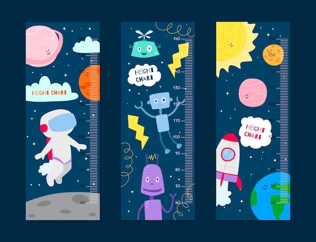 Collezione di misuratori di altezza dei cartoni animati per bambini