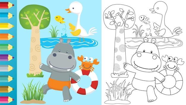 Cartone animato di ippopotamo che trasporta salvagente con i suoi amici, gru uccello caccia un pesce, granchio in piedi sul salvagente